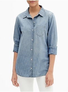 Fitted Boyfriend Shirt in Chambray