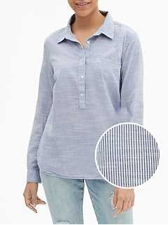 Long-Sleeve Stripe Popover Shirt