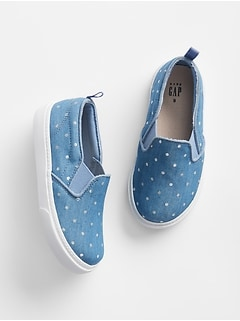 Dot Chambray Slip-On Sneakers