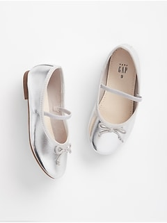 Metallic Bow Ballet Flats