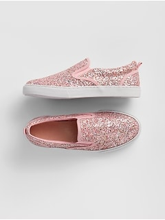 Kids Glitter Slip-On Sneakers