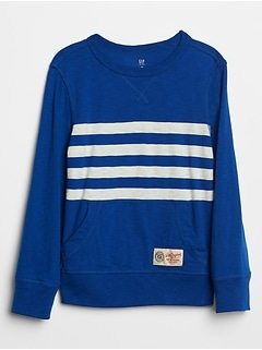 Chest Stripe Crewneck Pullover Sweatshirt