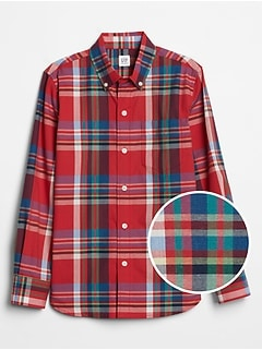 Kids Poplin Plaid Long Sleeve Shirt