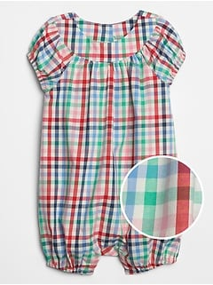 Baby Plaid Raglan Shorty One-Piece