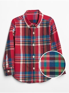 Toddler Poplin Plaid Long Sleeve Shirt