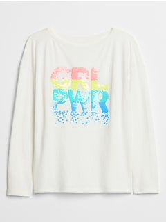 Kids Flippy Sequin Long Sleeve Graphic T-Shirt