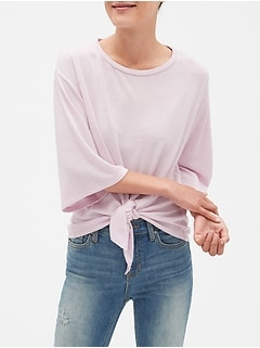 Softspun Wide Sleeve Tie-Hem Top