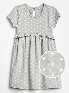 Print Short Sleeve Ruffle Dress
