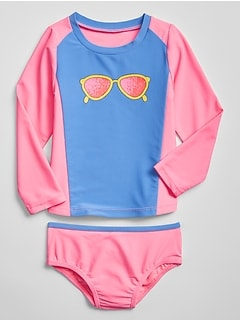 Toddler Graphic Rashguard Swim Two-Piece