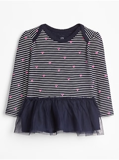 Baby Stripe Tulle-Hem Long Sleeve T-Shirt