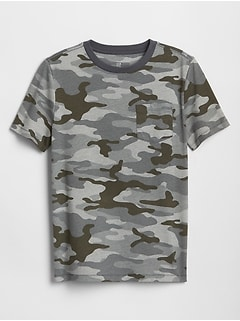 Kids Camo Print Crewneck Pocket T-Shirt