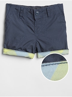 Plaid-Lined Shorts in Twill