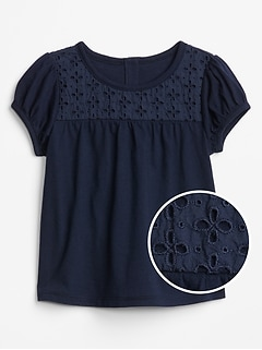 Toddler Short Sleeve Eyelet Top