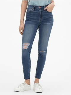 High Rise Destructed Legging Skimmer Jeans