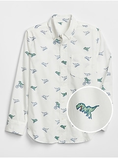 Kids Dino Print Poplin Long Sleeve Shirt