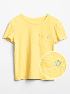 Kids Embroidered Pocket Short Sleeve T-Shirt