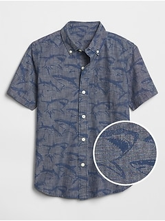 Kids Shark Print Chambray Short Sleeve Shirt