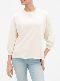 Three-Quarter Sleeve Pullover Sweatshirt in French Terry
