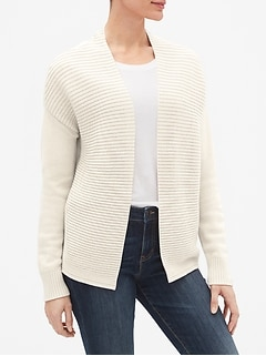 Mix-Stitch Open-Front Cardigan