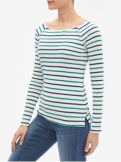Favorite Stripe Long Sleeve Button-Shoulder T-Shirt