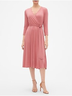 Three-Quarter Sleeve Midi Wrap Dress