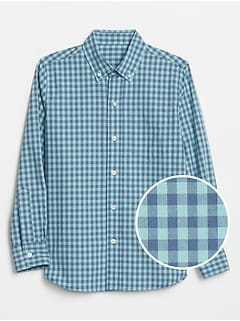 Kids Plaid Long Sleeve Shirt in Poplin