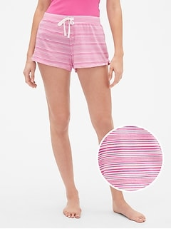 Print Drawstring Shorts in Cotton-Modal Jersey
