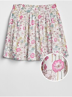 Kids Shirred Floral Skirt