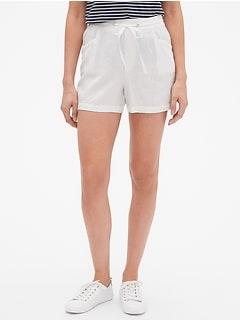 "3.5"" Pull-On Shorts in Linen-Cotton"