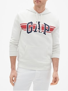 Chest-Stripe Gap Logo Pullover Hoodie