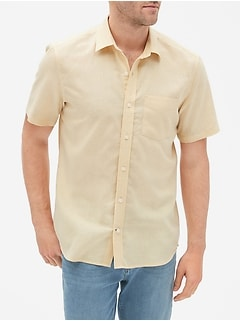 Short Sleeve Shirt in Linen-Cotton