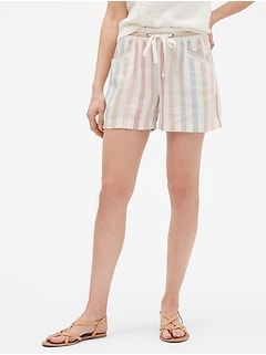 "3.5"" Stripe Pull-On Shorts in Linen"