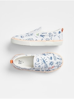 Kids Print Slip-On Sneakers