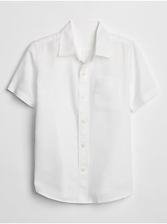 Kids Short Sleeve Shirt in Linen
