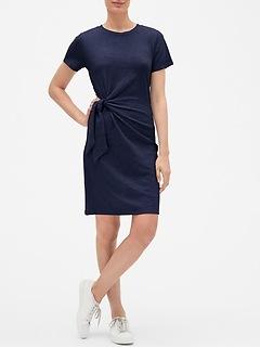 Short Sleeve Twist-Knot Midi Dress