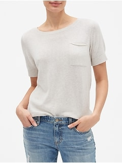 Short Sleeve Pocket Pullover Sweater in Cotton