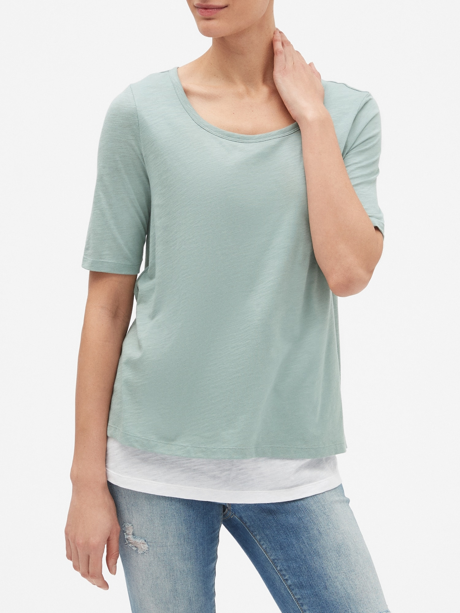 673b218e5e122c Maternity Double-Layer Nursing T-Shirt