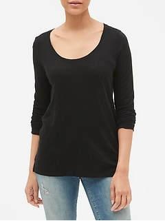 Easy Long Sleeve Scoopneck T-Shirt in Slub