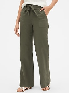Tie-Belt Wide-Leg Pants