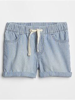 Toddler Stripe Pull-On Denim Shorts