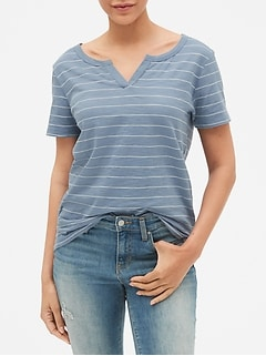 Slub Stripe Split-Neck T-Shirt