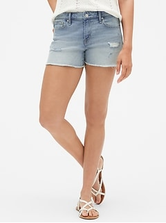 "Mid Rise 3"" Denim Shorts with Raw Hem"