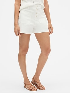 "High Rise 3"" Button-Fly Shorts"