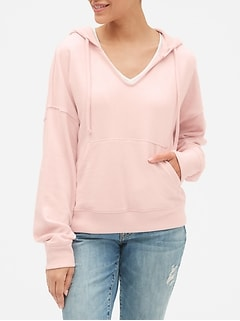 Split-Neck Pullover Hoodie in French Terry