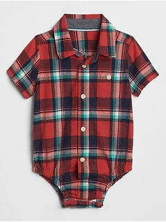 Baby Madras Button-Up Bodysuit