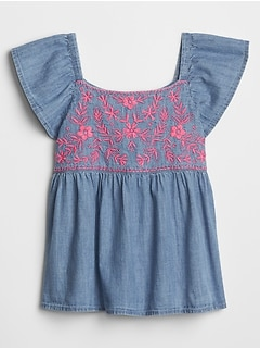 Kids Embroidered Flutter Top