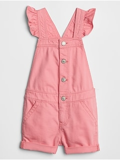 Toddler Flutter Denim Short Overalls