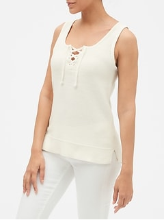 Lace-Front Tank Top