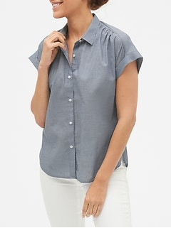 Drapey Short Sleeve Shirt in Cotton