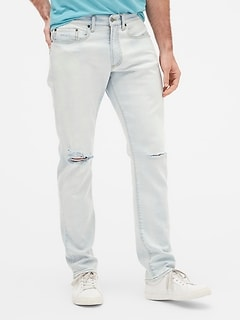 Wearlight Distressed Slim Jeans with GapFlex